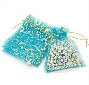 Oganza Geschenk-Taschen Gold-Mond-Stern-Muster Geschenk Säckchen Beutel Schmuckbeutel Beutel 7x9cm