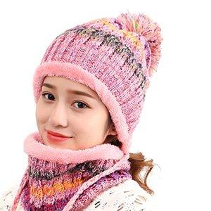 Moda donne del cappello 2 pezzi ragazze pompon di lana del filato sciarpa lavorata a maglia Cuffed Beanie Outdoor