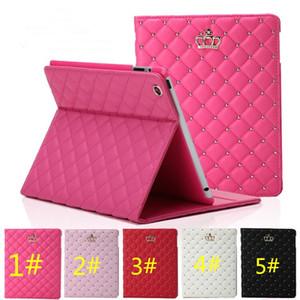 스탠드 충격 방지 휴면 커버 2 3 4 5 6 아이 패드 미니 4 iPad 용 고급 라인 석 크라운 PU 가죽 태블릿 접는 경우