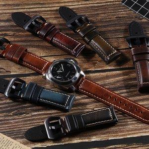 Handgefertigte Vintage Leder Uhr mit Ölwachs erste Schicht Kuhhaut Armbandes 18/20/22/24 / 26MM Stiftwölbungs kann angepasst werden