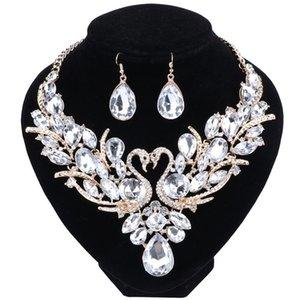 Nouveau Mode De Luxe Multicolore Cristal Double Swan Déclaration Collier Boucle D'Oreille Pour Les Femmes Parti Ensembles De Bijoux De Mariage