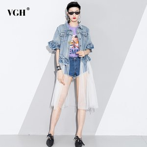 VGH Casuak Denim Patchwork Windbreaker Female Mesh High Waiffles Short Sleeve Long Trench Coat Women 2020 Spring Clothing