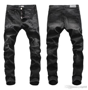 Tops Mens Ripped Black Jeans Fashion Designer Slim Fit Low Waist Biker Denim Pants Hip Hop Trousers NJ8085