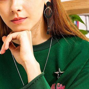 Tassel earrings long female temperament versatile circle ear nail gun black metal chain crystal earrings