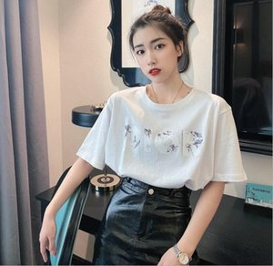 2020 New Fashion high quality 100% cotton blue short sleeve Women's T-shirt for Men and women couples slim fitting short sleeve T-shirt