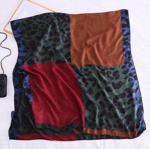 2020 do vintage leopard patchwork cachecol mulheres longa verde Leopard Xaile Scarf Imprimir macia Enrole Pashminas Sjaal muçulmano Hijab Baixada