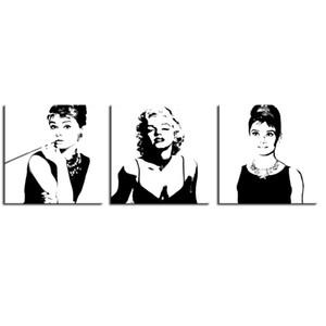 3 Pièces Canvas Wall Art Marilyn Monroe et Audrey Hepburn Photo Prints Peinture pour Framed Moderne tendue Accueil Salon Décoration