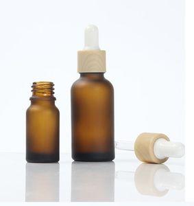 15ml 30ml 50ml Ambre givré clare lait en verre blanc bouteille de plastique Dropper Cap 1 oz verre Bamboo Essential bouteille d'huile