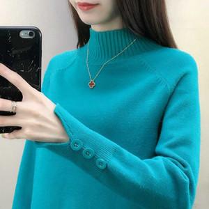 shintimes Turtleneck Örme Triko Sonbahar Kış Kazak Kadınlar Kazak Düğme Uzun Kollu Kadın Triko Bayan Giyim
