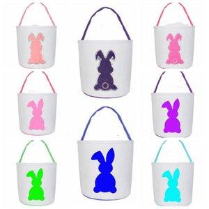 Paillettes Easter Basket coniglio sveglio Stampato Kid caramelle cesto domestica del bambino giocattolo sacchetti di immagazzinaggio per le vacanze sacchetti del partito WY507Q