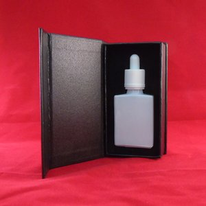 Free ship 30ml white square cosmetic essential oil dropper bottle,Luxury rectangle black outer cardboard magnetic boxes packaging for bottle
