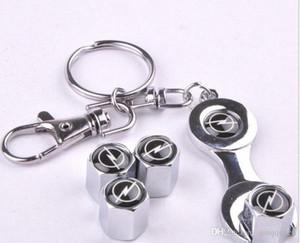 4pcs set Car Wheel Tire Valve Caps with Mini Wrench & Keychain for Opel Astra Antara Zafira Auto Accessories