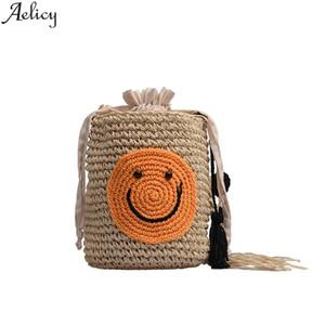 Aelicy Ladies Bucket Nappa con coulisse Borsa in tessuto da donna Casual Borsa da spiaggia al mare Borsa da viaggio femminile Crossbody New