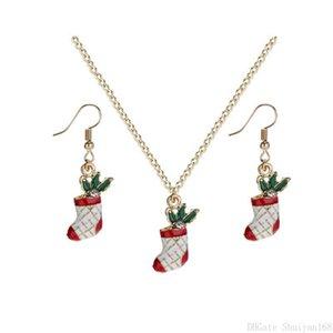 Boucles d'oreilles bas de Noël Colliers Pendentif Set pour femmes filles cadeau de Noël chaussettes Couronne Garland Charm Statement Sets Party Collier de bijoux