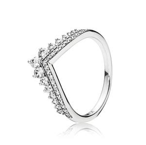 Clear CZ Diamond Princesa desejo Conjunto de anel Caixa original para Pan-Dora 925 Sterling prata mulheres meninas casamento coroa anéis W173