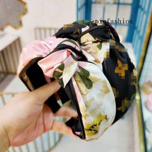Retro Flower Cloth Art Hair Hoop Letters Knotted Wide Edge Printed Hair Hoop Women Headband Female Hair Ornaments