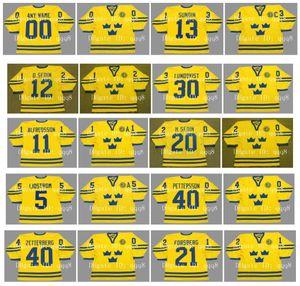 Vintage 2002 Team Sweden Jerseys 30 HENRIK LUNDQVIST 13 MATS SUNDIN 21 PETER FORSBERG 11 DANIEL ALFREDSSON 22 HENRIK SEDIN Custom Hockey