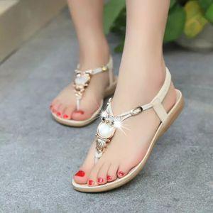 Chaussures femme d'été du Nouveau Bohême Owl perlée Sandales plates Owl Owl Toe Sandales de plage femmes Jooyoo