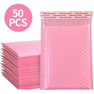 50Pcs enveloppe d'emballage rose bulle Mailers enveloppes matelassées Poly Mailer Doublé Self Seal sac expédition utilisable 13x18cm