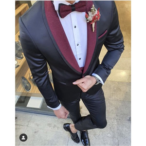 Newest One Button Groomsmen Shawl Lapel Wedding Groom Tuxedos Men Suits Wedding Prom Dinner Best Man Blazer(Jacket+Tie+Pants) T16