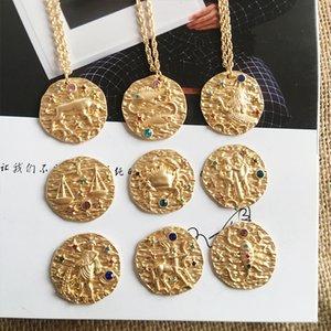 French Star Zodiac 12 Constellation Coin Necklaces & Pendants Choker embossed dream new retro sweater chain random stone color