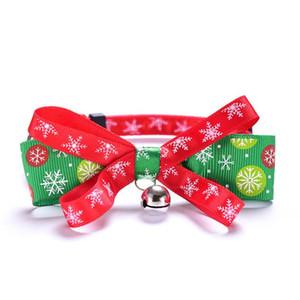 Оптовые продаванные о рождественские животные ошейники мода регулируемые высококлассными домашними собаками кошек поводки открытый личность милый Pet Bowknot воротник аксессуары
