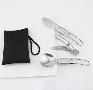 DHL 3шт / набор из нержавеющей стали Складной Flatware Set Портативный Столовые приборы Набор ножей Вилка Ложка Отдых Туризм Путешествия Открытый Питание Посуда ЯО