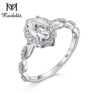 Kuololit 1ct ovale naturale Solitaire Ring per le donne solido 10K anello di oro bianco VVS D colore Mossan fidanzamento anniversario di matrimonio