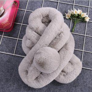 Invierno la piel de imitación de lujo cuello de la chaqueta de las mujeres bufanda caliente suave chal vellosa capucha de piel de la decoración para las chaquetas del multicolor Mujer Bufandas de piel GD274