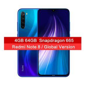 "Global Versión Xiaomi redmi Nota 8 48MP cámaras Quad Smartphone 64 GB 4 GB Snapdragon 665 Octa Core Mobile Phone 6.3"" FHD pantalla"