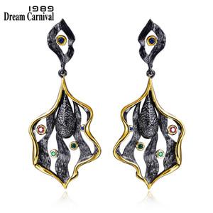 Dreamcarnival 1989 Elegante foglia design orecchini stile vintage oro nero colore Cz goccia Brincos Zirconia orecchini partito Ze52807 C19041101