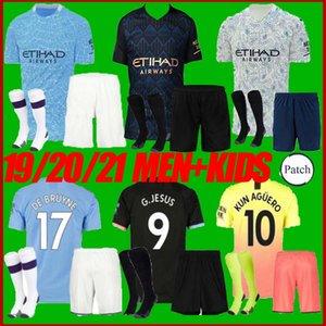 мужчины + дети комплект 20 21 Манчестере г. Иисус MAHREZ футбол Джерси 19 20 Де Брюйне Кун Агуэро город футбол рубашка
