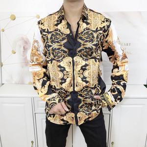 Brand New Mens Dress Shirts Fashion Casual Shirt Men Medusa Shirts Gold Floral Print Slim Fit Shirts Men