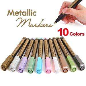 10 Colors 2PCS,Fine Metallic Markers Paints Pens,Metal Art Permanent Glass Painting Rocks,Photo,,Gift Card Making,DIY Craft