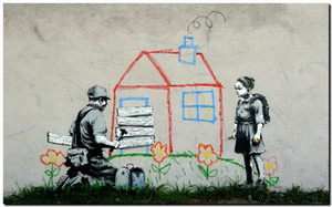 BANKSY STREET ART Volunteers painting Home Decor Handpainted &HD Print Oil Painting On Canvas Wall Art Canvas Pictures 191118