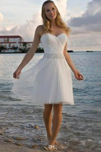 2019 New High Quality Sweetheart Rhinestone Tulle Short Casual Beach Wedding Dresses Bridal Gown Free Shipping 1295