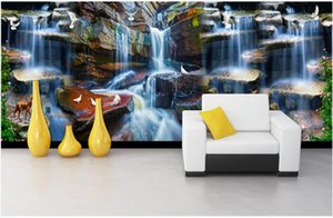 WDBH 3d wallpaer custom photo mural Flowing water waterfall elk dove flower vine TV background decor living room wallpaper for walls 3 d