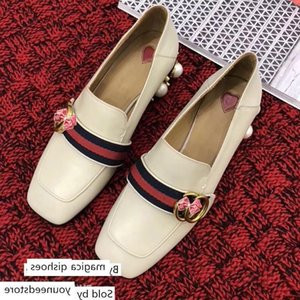 designer women s shoe square head thick Pearls single heels high Quality retro loafers two wear lazy shoes