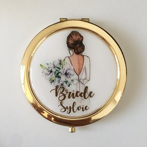 Printing any text language Unique Custom logo Wedding Bride to be Bridesmaid gifts Personalized portable compact mirror gift