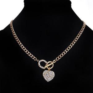 امرأة ربط سلسلة بلينغ حجر الراين تبديل المشبك القلب حب رومانسية قلادة قلادة قصيرة للمرأة هدية مثلج خارج قلادة مجوهرات