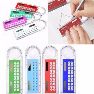 Portable Mini Solar Ruler Calculator Magnifier Multifunzione 10cm Ultra-sottile Righello Calcolatrice Forniture per ufficio regalo Colori misti DHL