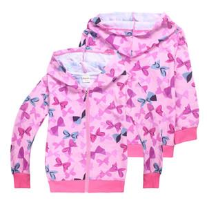 JOJO Siwa Arcos impressos Kid Meninas Hoodies 4-12t Meninas Zipper Hoodies crianças Primavera e Outono Outdoor Zipper Brasão SS105