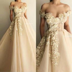 2020 Champagne Fada Prom Dresses Lace Floral 3D Appliqued Off The Shoulder Slit A Linha Evening vestidos até o chão Custom Made