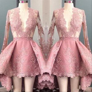 2020 Hallo Lo Pink Long Sleeves Appliques Homecoming Cocktailkleider Tiefem V-Ausschnitt Elegante 8. Klasse Prom Party Kleider