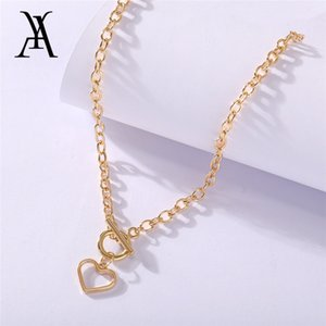 Fashion Cuban Link Chains Heart Pendant Choker Necklace Collar Chunky Toggle Clasp Chain Necklaces for Women Statement Jewelry