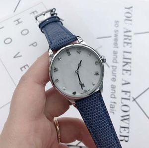 Moda Novo G-Atemporal YA126588 Black Dial Swiss Relógio De Quartzo Caso Womens Luxury Watch Genuíno Lagarto Pulseira De Couro 36mm Montre femme