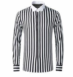 Designer Mens-beiläufige Hemden Gestreifte Printed Langarm Männer Tees Panelled Homme Teenager Frühling Patchwork-Kleid