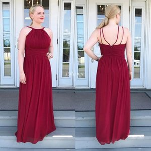 Dark Red Plus Size Chiffon Evening Dresses Halter Zipper Back Sleeveless Floor Length Maid Of Honor Gowns Prom Party Dresses Cheap