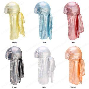 Silky Sparkly Durags Turbante Uomo Uomini Durag Shiny Du Rag Bandane Cappello parrucche Doo Durag Biker headwrap fascia Accessori per capelli