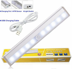LED-Kabinett leuchtet USB-Lithium-Batterie wiederaufladbare drahtlose Lampe Körper Sensing Light Bar Magnetstreifen Wandleuchte